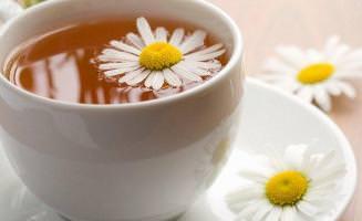 Чашка и цветки ромашки