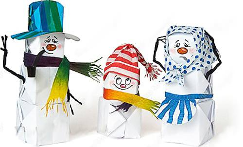 Елочная игрушка снеговик из бумаги своими руками