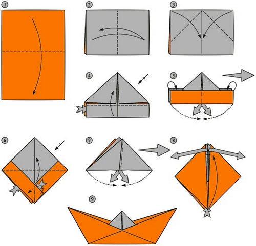 схема бумажного кораблика